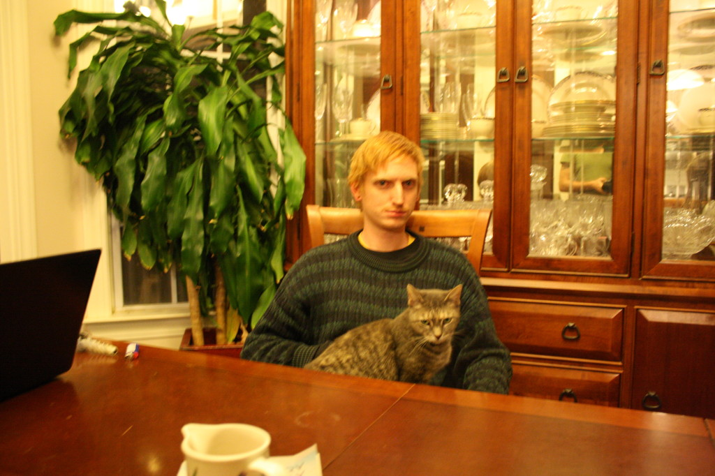 Tom From the UK and Faith the cat