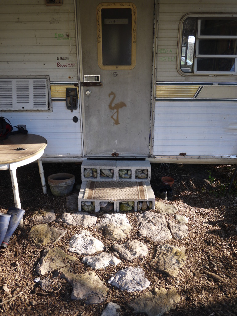 upgraded with flat stones Gabe hauled out of the woods, & decorative, much more useable steps