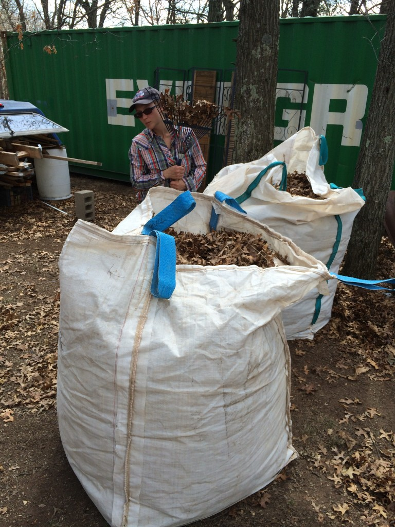 we packed 5 of these giant ~4x4x4 bags with dry oak leaves before the next wave of snow hit