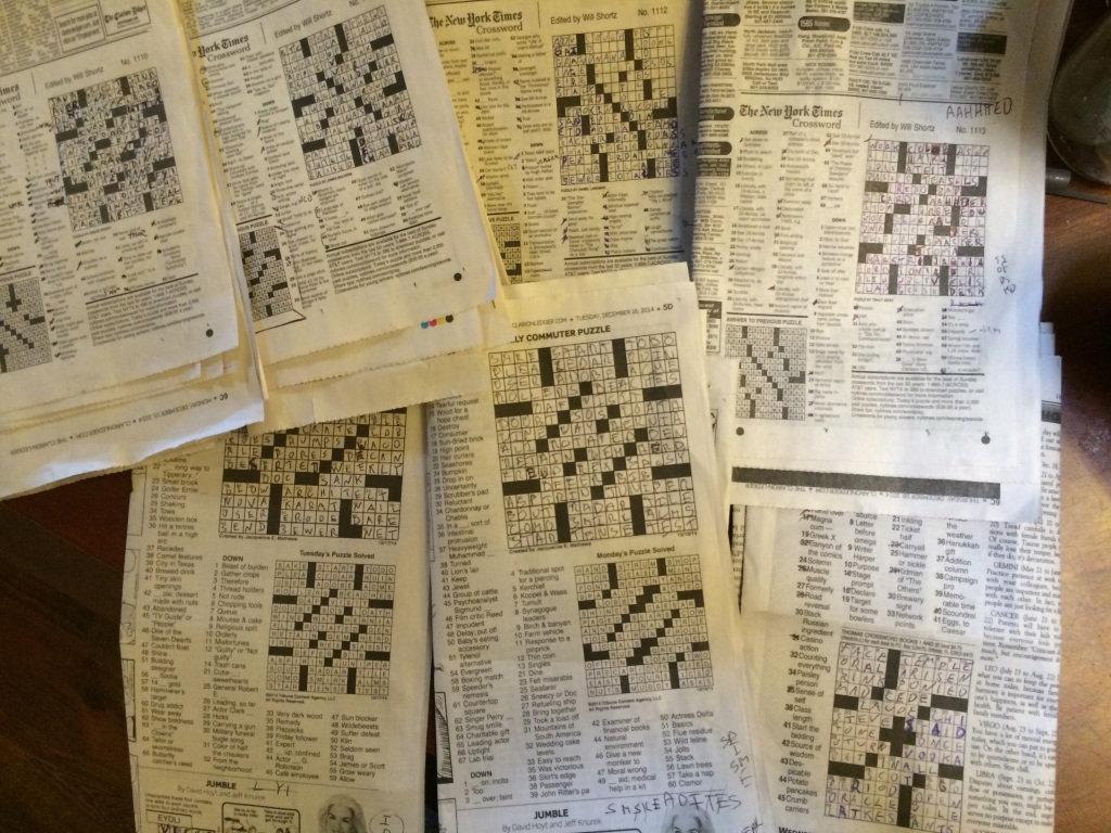At the house, we've gotten into doing crossword puzzles for the first time