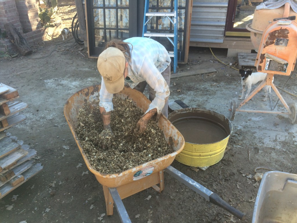 mixing insulation from clay slip & pine shavings