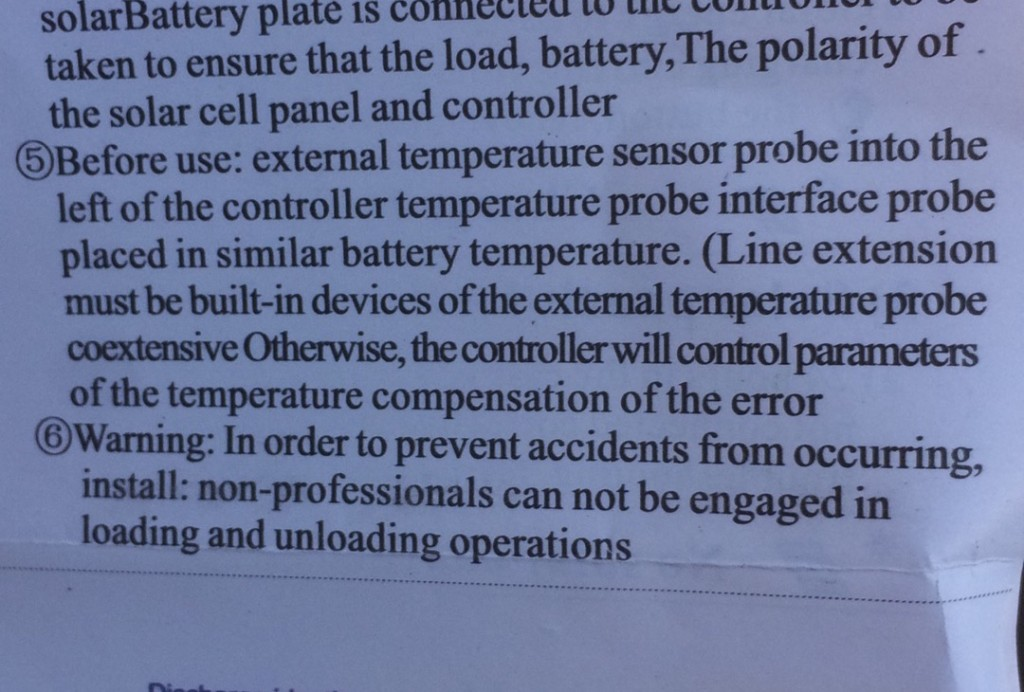 yeah, the directions for the new solar charge controller makes tons of sense