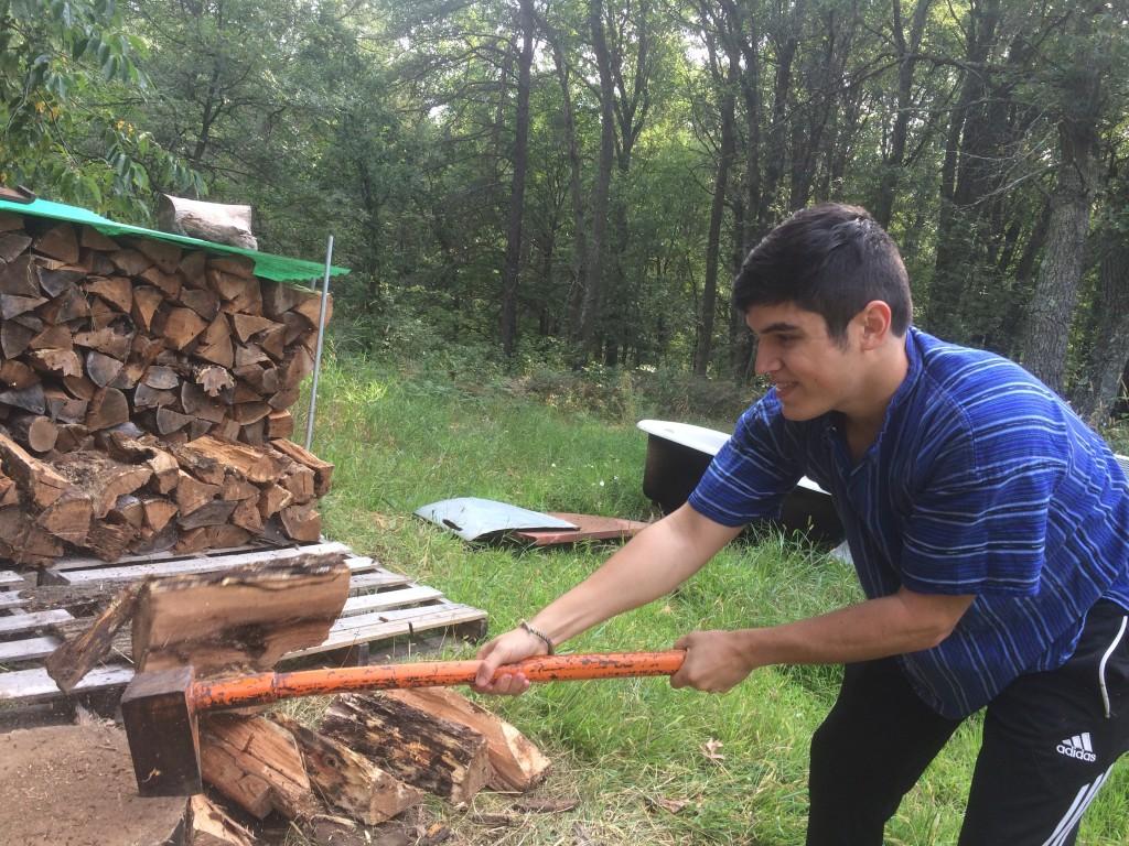 WWOOFer Bryan's first log split ever