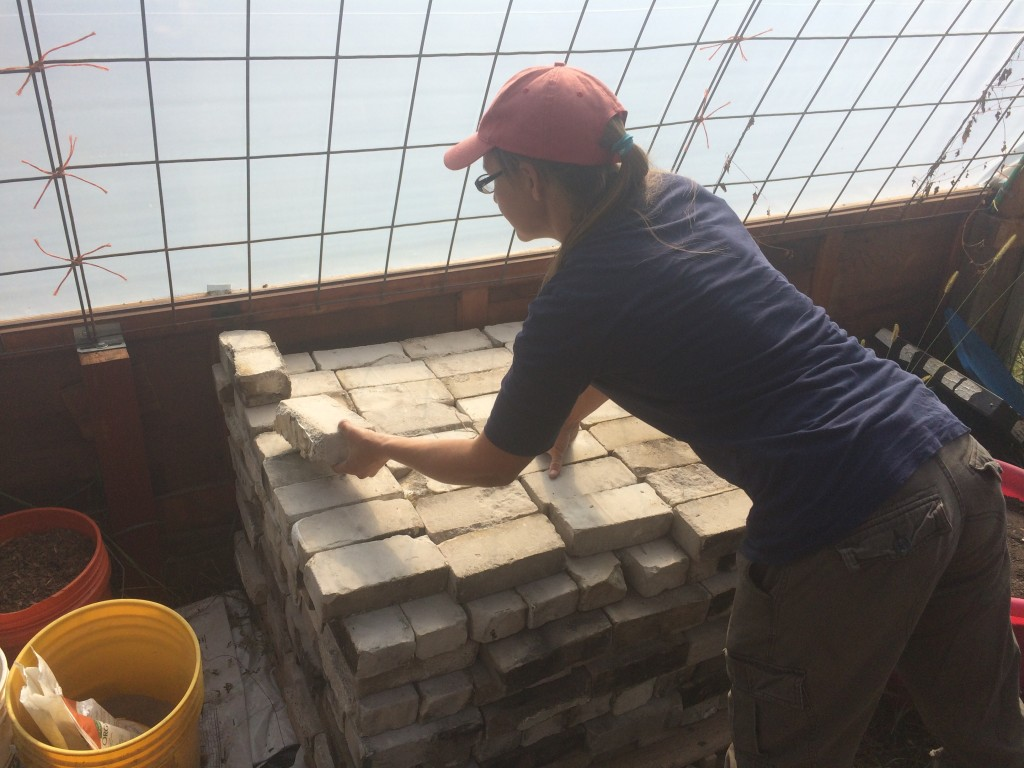 stacking the free insulative firebricks we scored for the greenhouse rocket mass heater (TBD)