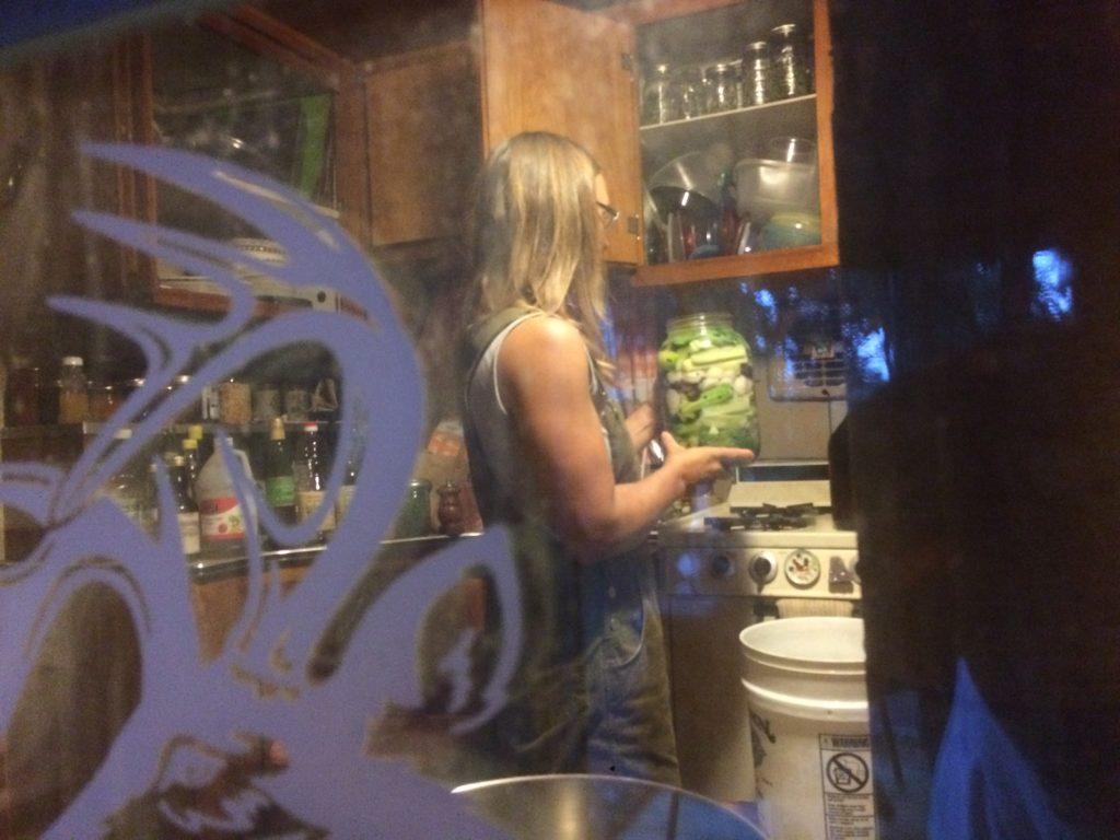 spying on Kristin making fermented crock cucumbers