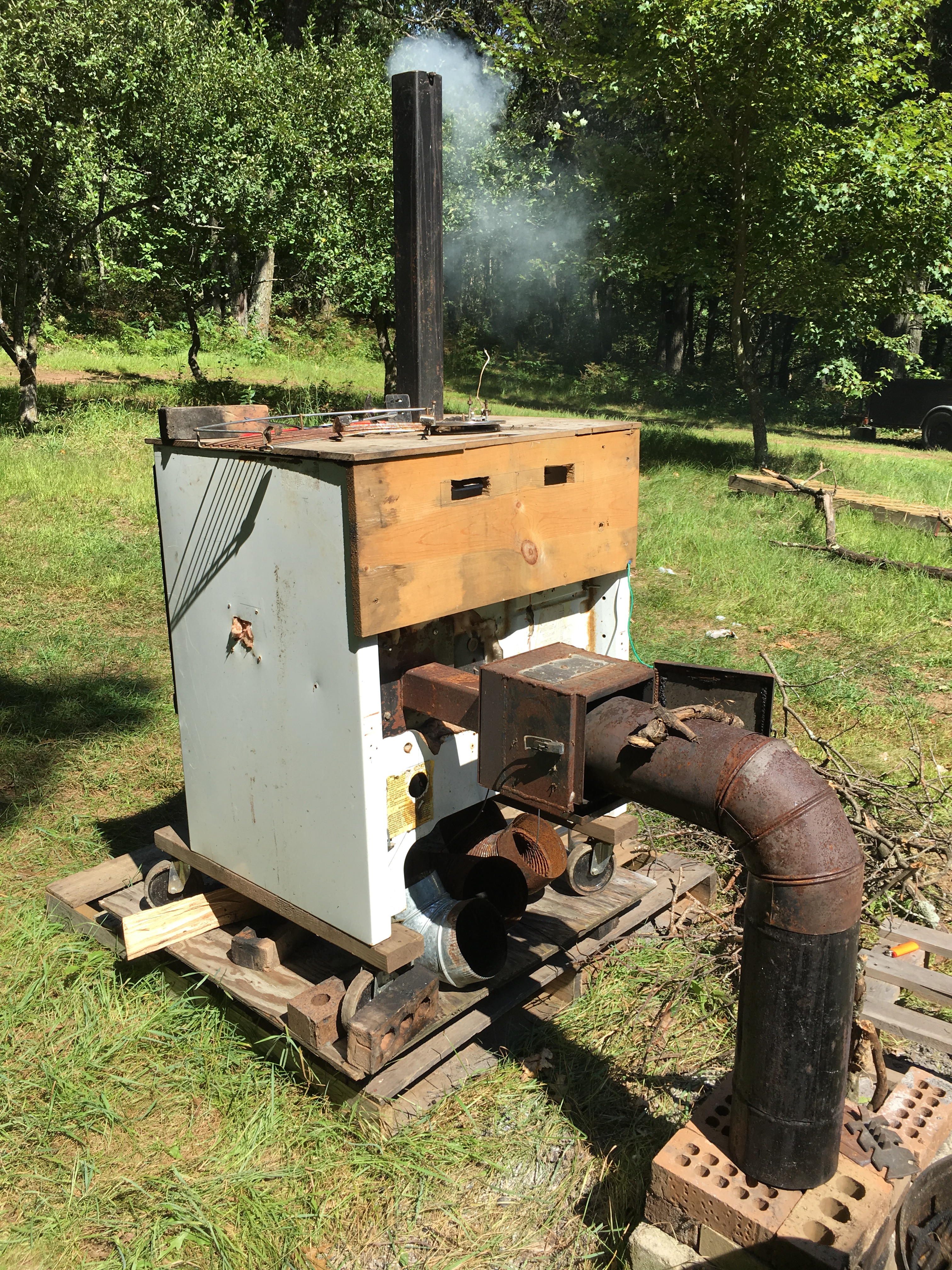 Free Craigslist Oven Turned Electric Smoker Converted To Run From A Rocket  Stove Instead   Our
