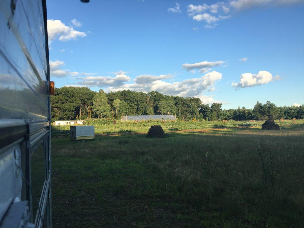the field from Sarah's trailer door