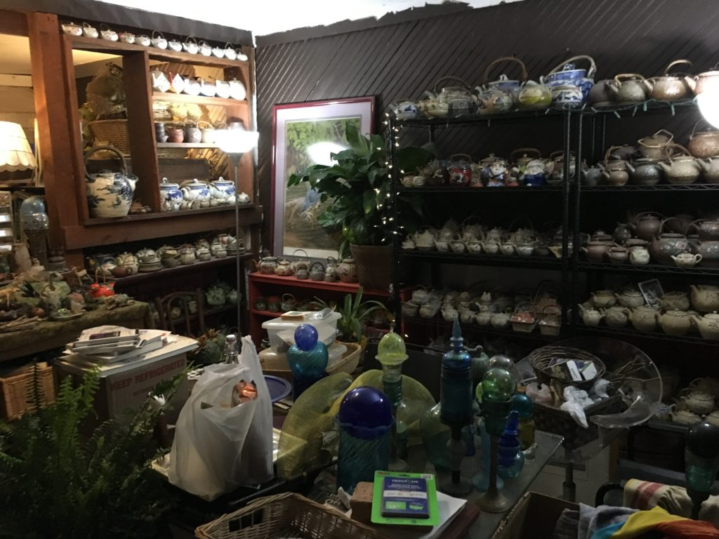 a fraction of Jacqueline's amazing teapot collection - a wonderful environment since I'd launched into this lifestyle with help from a couple of teapots that taught me to trust intuition and flow!