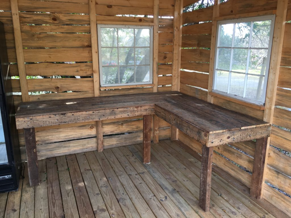 reclaimed lumber counter/table project