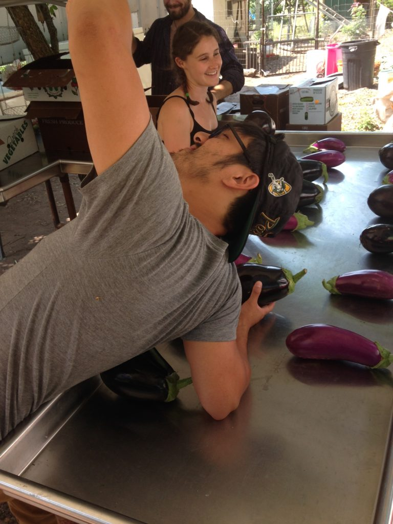 Sean taking a selfie with an eggplant. As you do.