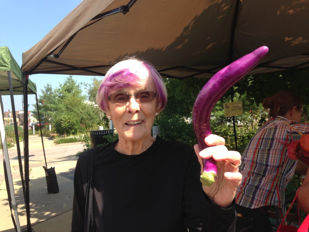 Ginny, one of the finest farmers' market customers the world has known
