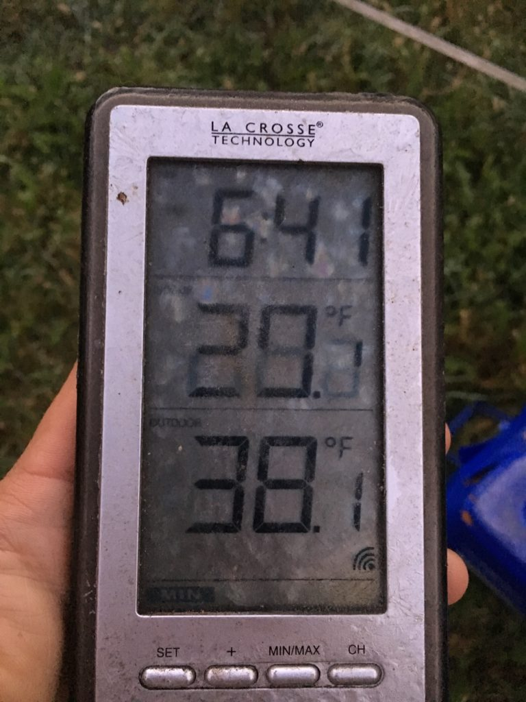 top temp is the recorded low overnight on this frosty thermometer