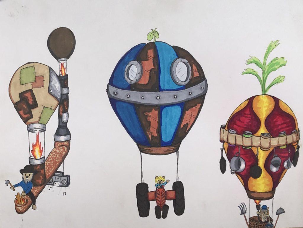 Gabe, Otis & Kristin as drawn by WWOOFer B (aka Bear's Dad)